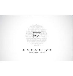 fz f z logo design with black and white creative vector image