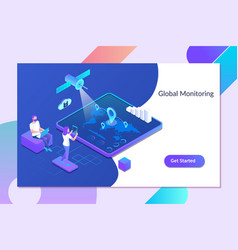 global monitoring system people at control vector image