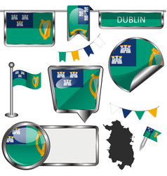 Glossy icons with flag of dublin vector