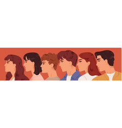 group young man and woman looking one direction vector image