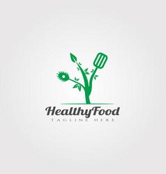 Healthy food logo designrestaurant food icon vector