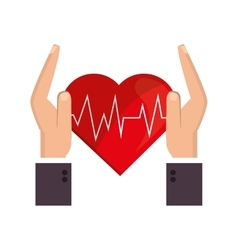 Heart cardiogram and sheltering hands icon vector