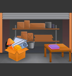home garage sale concept background cartoon style vector image