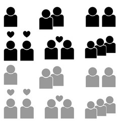 human sociability set black and grey color vector image