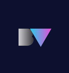 Initial alphabet letter bv b v logo company icon vector