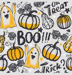 Ink hand drawn halloween seamless pattern vector
