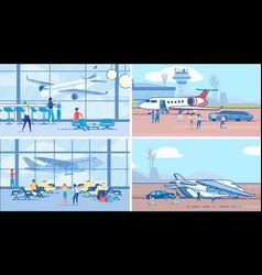 international traveling and tourism plane set vector image