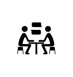 Interpersonal communication black glyph icon vector