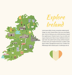 irish map with symbols of ireland destinations vector image