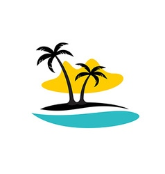 Island with palms sea and sun logo vector image