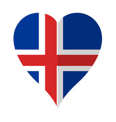 isolated flag of iceland on a heart shape vector image