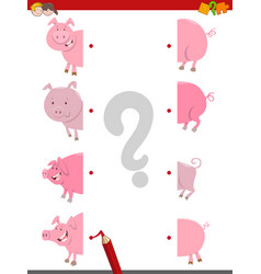 Join the halves of pigs vector