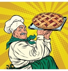 Joyful retro cook berry pie vector