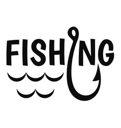 lake fishing hook logo simple style vector image