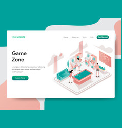 landing page template game zone room concept vector image