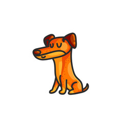 little cartoon dachshund dog vector image