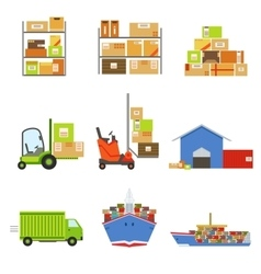 Logistics And Delivery Related Set Of Objects vector image