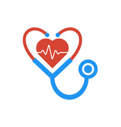 Love heart stethoscope medical logo icon vector