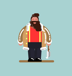 lumberjack standing with axe in hand vector image