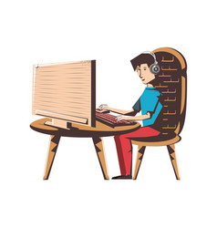 man with desktop computer and headphone vector image