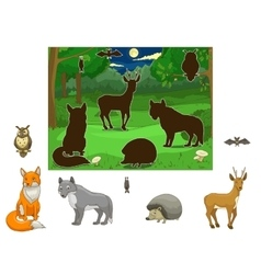 Match the animals to their shadows vector