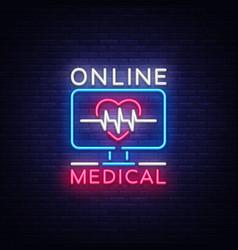 medical online neon sign design template medical vector image