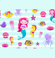 Mermaid pattern seamless vector
