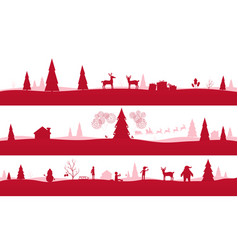 merry christmas landscapes set red festive vector image