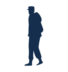military man walking silhouette vector image