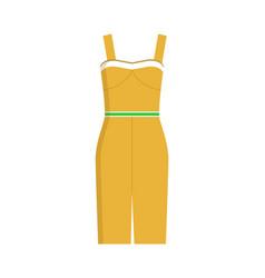 Modern fashionable summer dress yellow color vector