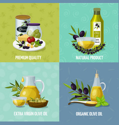 olive oil 4 cartoon icons vector image