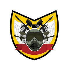 Paintball logo military emblem army sign helmet vector
