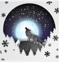 Paper art and craft of wolf on mountian vector