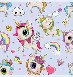 pattern with cute cartoon unicorns vector image