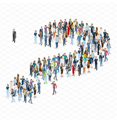 People crowd question mark template vector