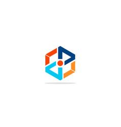Polygon shape line colorful logo vector