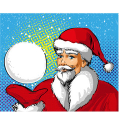 pop art of santa claus showing vector image