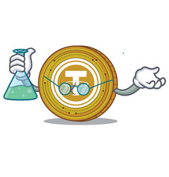 Professor tether coin character cartoon vector