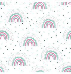rainbows childish seamless pattern with dots vector image