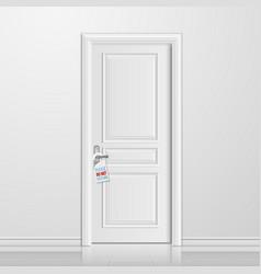 Realistic closed white entrance door vector