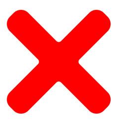red cross symbol icon as delete remove vector image