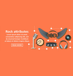 Rock attributes banner horizontal concept vector