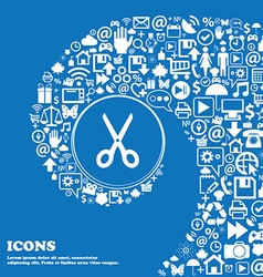 Scissors icon sign Nice set of beautiful icons vector