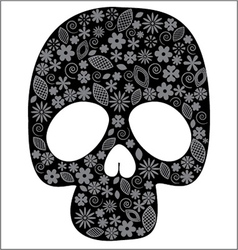 Scull with flower design vector image