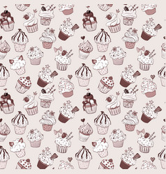 seamless background with doodle sketch cupcakes vector image