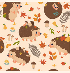 Seamless pattern with autumn hedgehogs vector