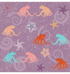 Seamless pattern with octopuses and stars vector image