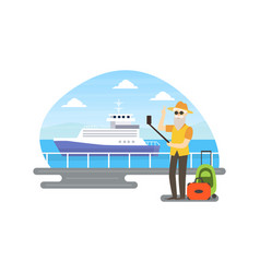 Senior man making selfie in front cruise ship vector
