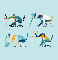 set 4 scenes with professional burnout syndrome vector image