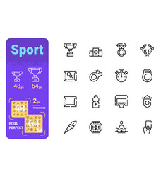 set sport simple lines icons medal energy and vector image